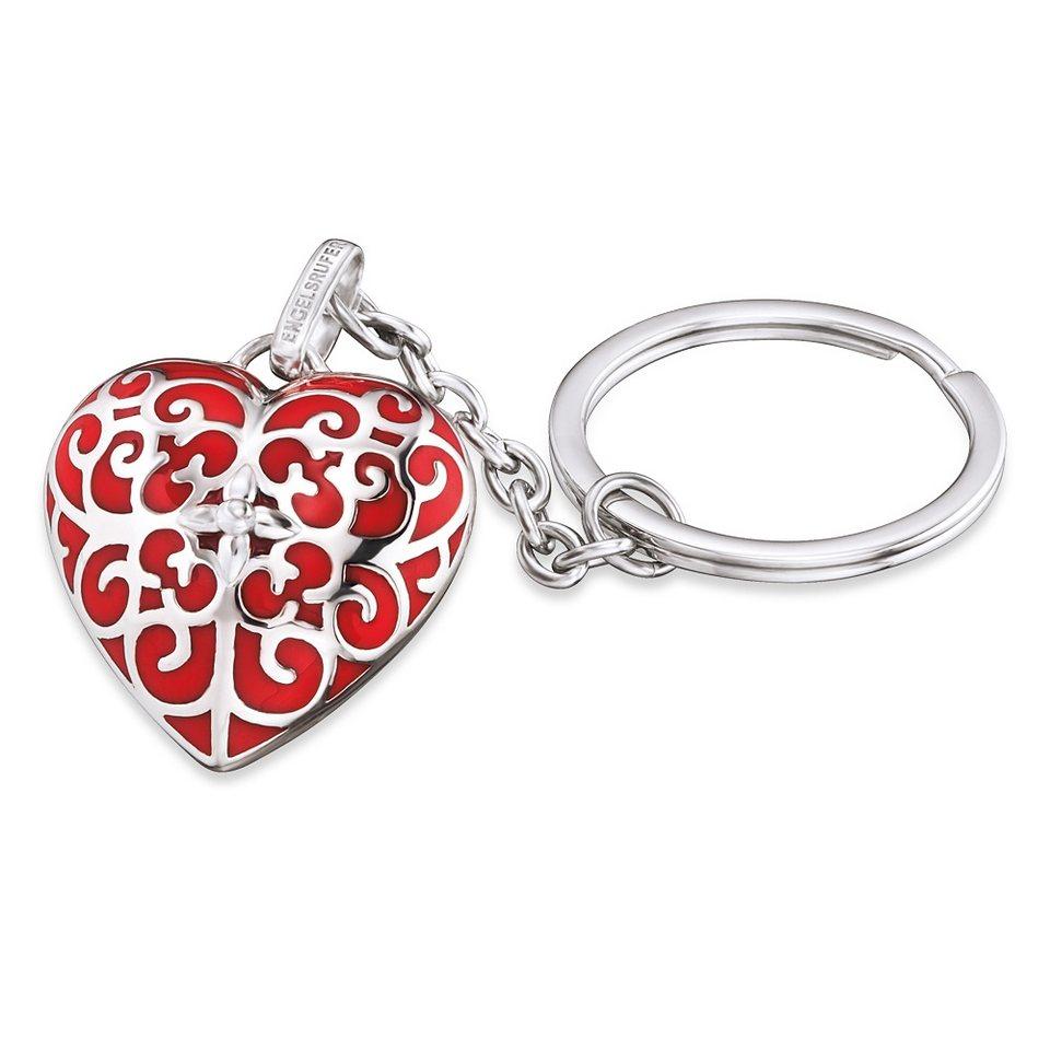 Engelsrufer Schlüsselanhänger, »Herz, ERK-05-HEART« in silberfarben/rot