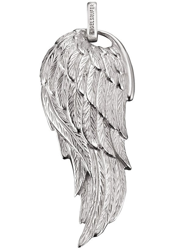 Engelsrufer Halsschmuck: Anhänger ohne Kette, großer gewölbter Flügel »Flamme, ERW-FLAME« in Silber 925
