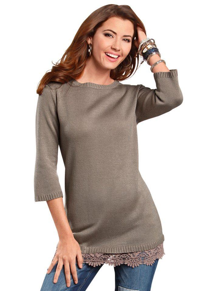 Classic Basics Pullover mit geripptem U-Boot-Ausschnitt in taupe