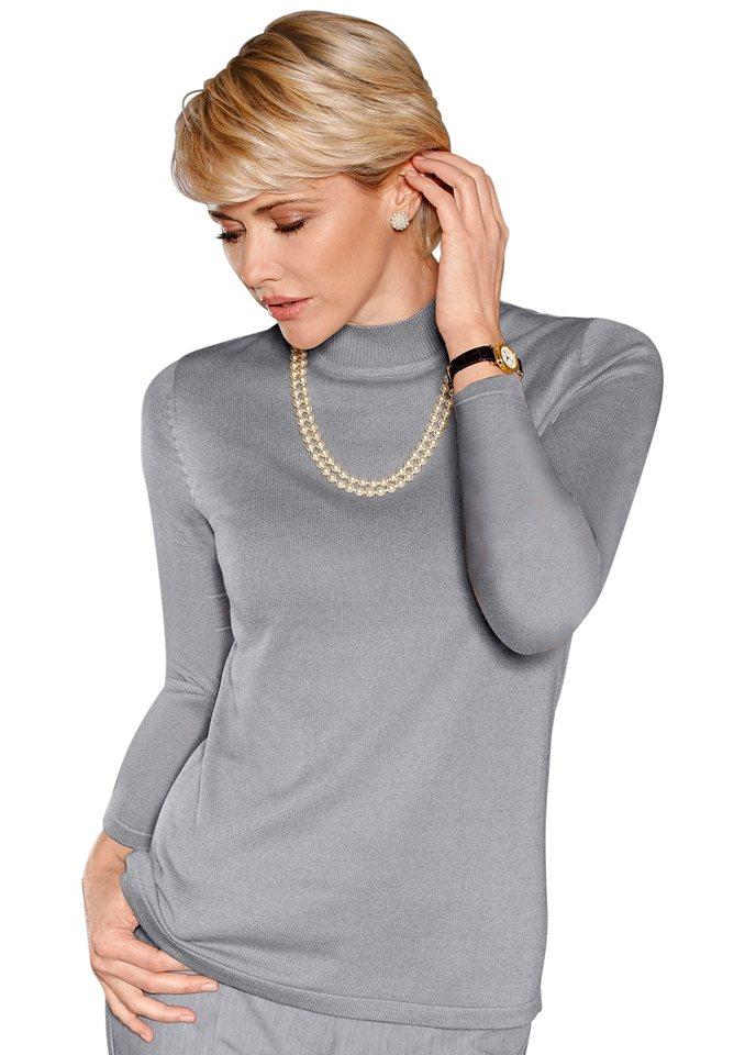 Classic Pullover in dezent glänzender Qualität in silbergrau