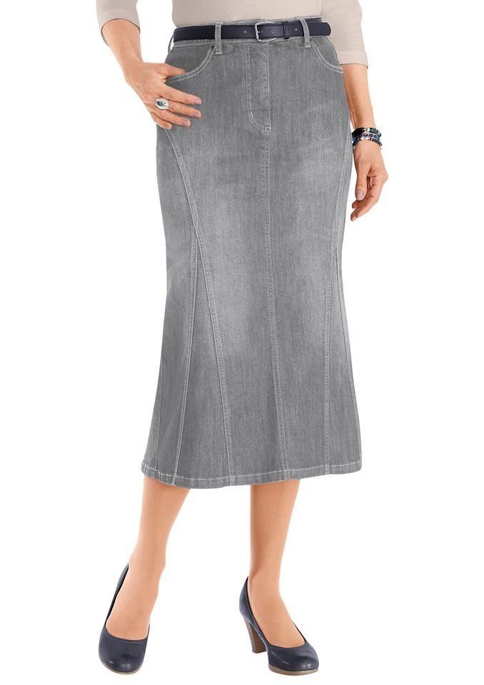 Collection L. Jeans-Rock in dezenter Waschung in grey-denim