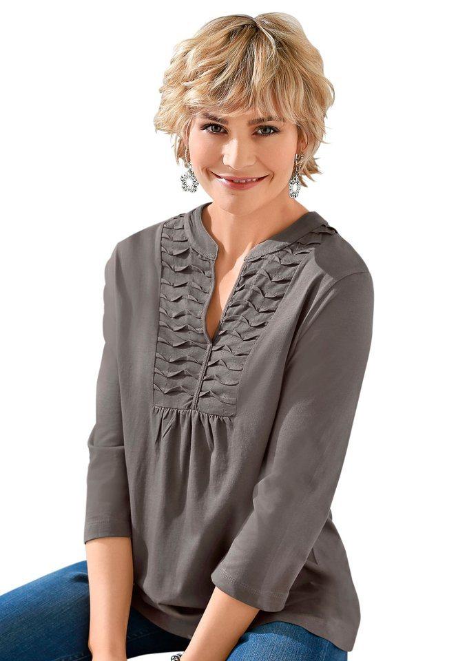 Classic Basics Shirttunika mit wunderschöner Biesenverzierung in grau