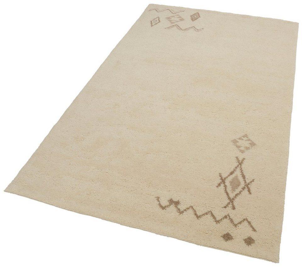 Orient-Teppich, Parwis, »Berber Safi«, 4,5 kg/m², 22 500 Knoten/m², 100% Schurwolle, Unikat in Creme