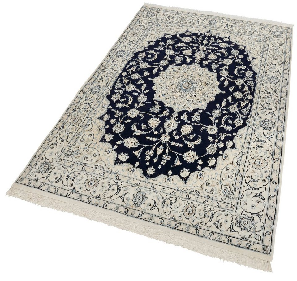 Orient-Teppich »Nain Scherkat Royal1«, handgeknüpft, 450.000 Knoten/m², mit Seidenanteil in blau