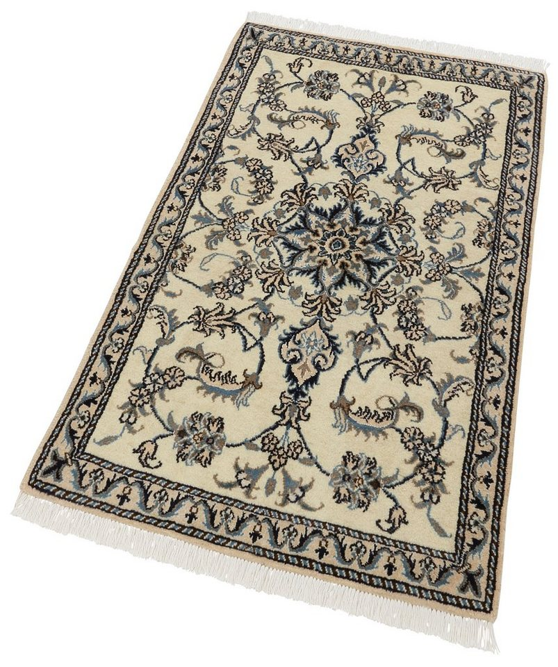Orient-Teppich, Parwis, »Nain Khorasan7«, 180 000 Knoten/m², handgeknüpft, Unikat in creme