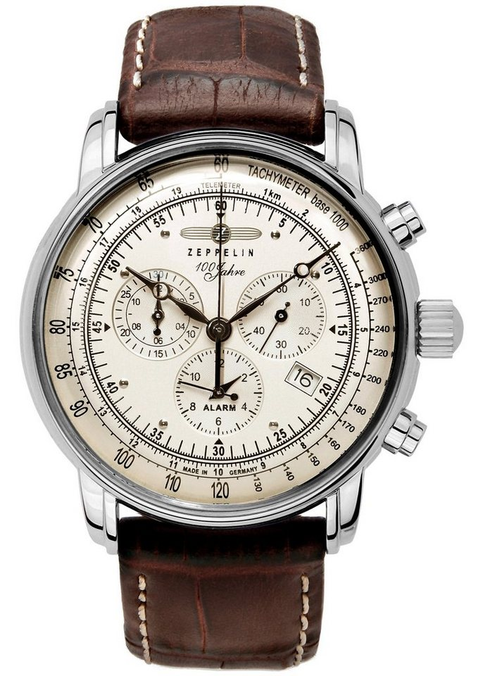 ZEPPELIN Chronograph »100 Jahre Zeppelin, 7680-1« Made in Germany in braun