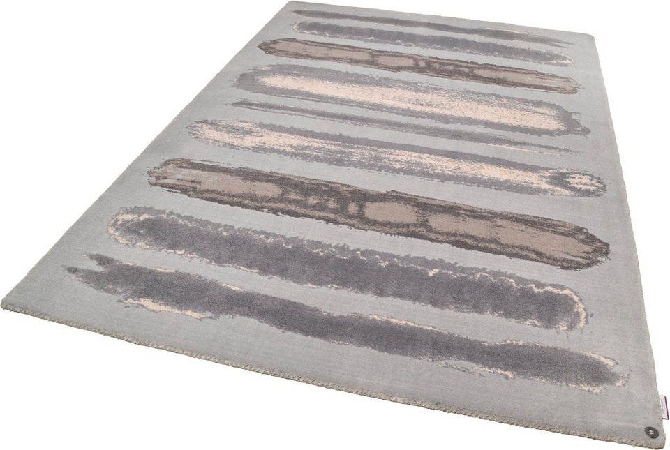 Teppich, Tom Tailor, »Happy Painted Stripe«, handgearbeitet in grau