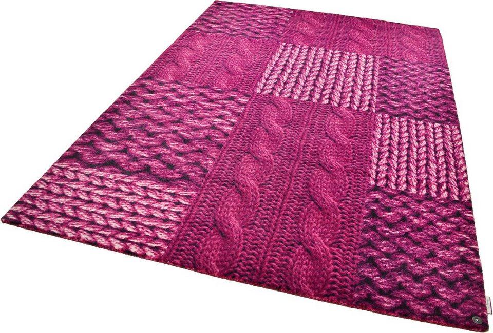 Teppich, Tom Tailor, »Happy Patchwork Knit«, handgearbeitet in pink