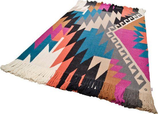 Teppich »Funky Kelim«, TOM TAILOR, rechteckig, Höhe 6 mm, Boho-Style, handgewebt, mit Fransen, Wohnzimmer