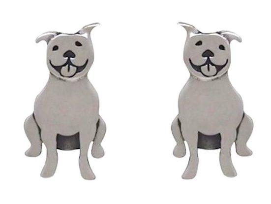 Gemshine Paar Ohrstecker »PITBULL TERRIER HUND«, Schmuck für Tierfans Made in Spain