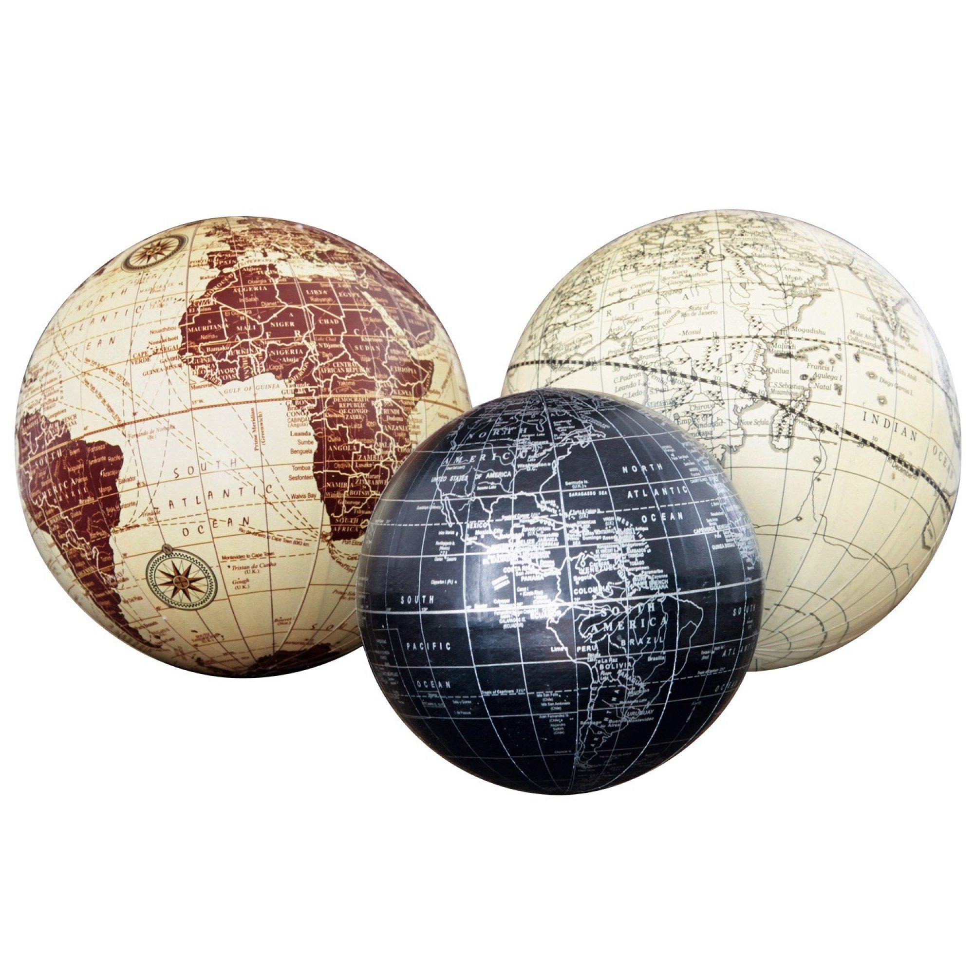 Loberon Deko-Kugeln 3er-Set »World«