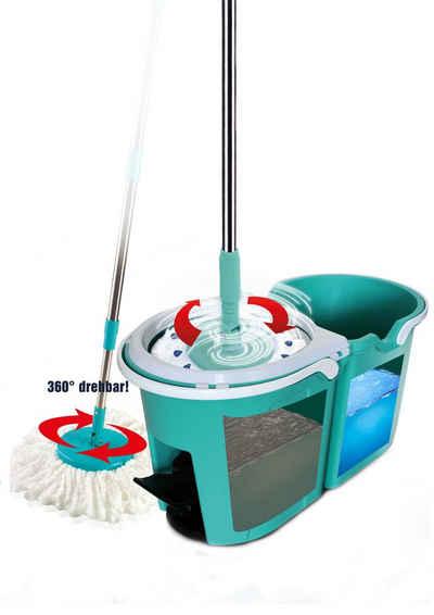 TELESHOP Bodenwischer-Set »CLEVER SPIN« (Set, 3-St), Boden-Wischsystem incl. Trolley