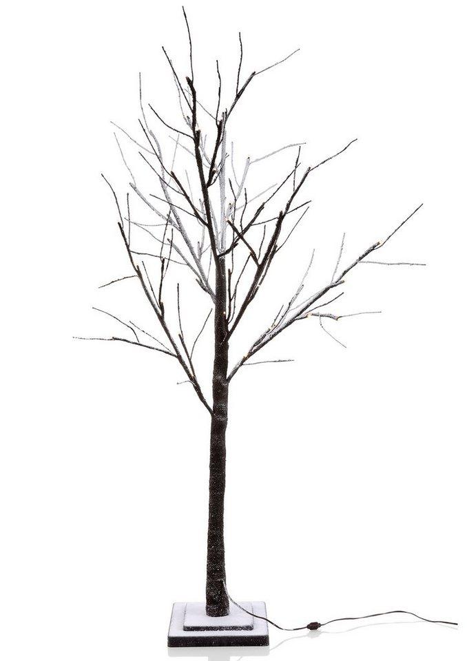 Leuchten Direkt LED-Baum in dunkelbraun, beschneit
