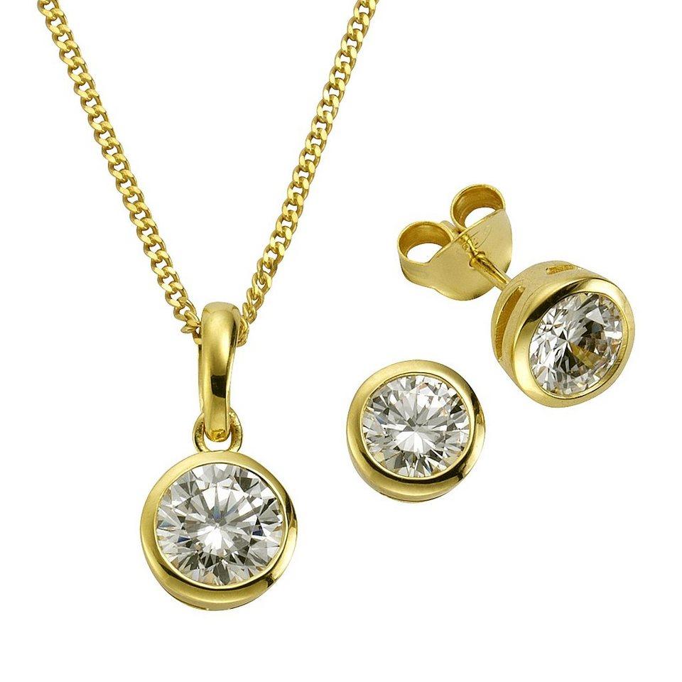 Zeeme Set »925/- Sterling Silber vergoldet Zirkonia weiß« in gelb