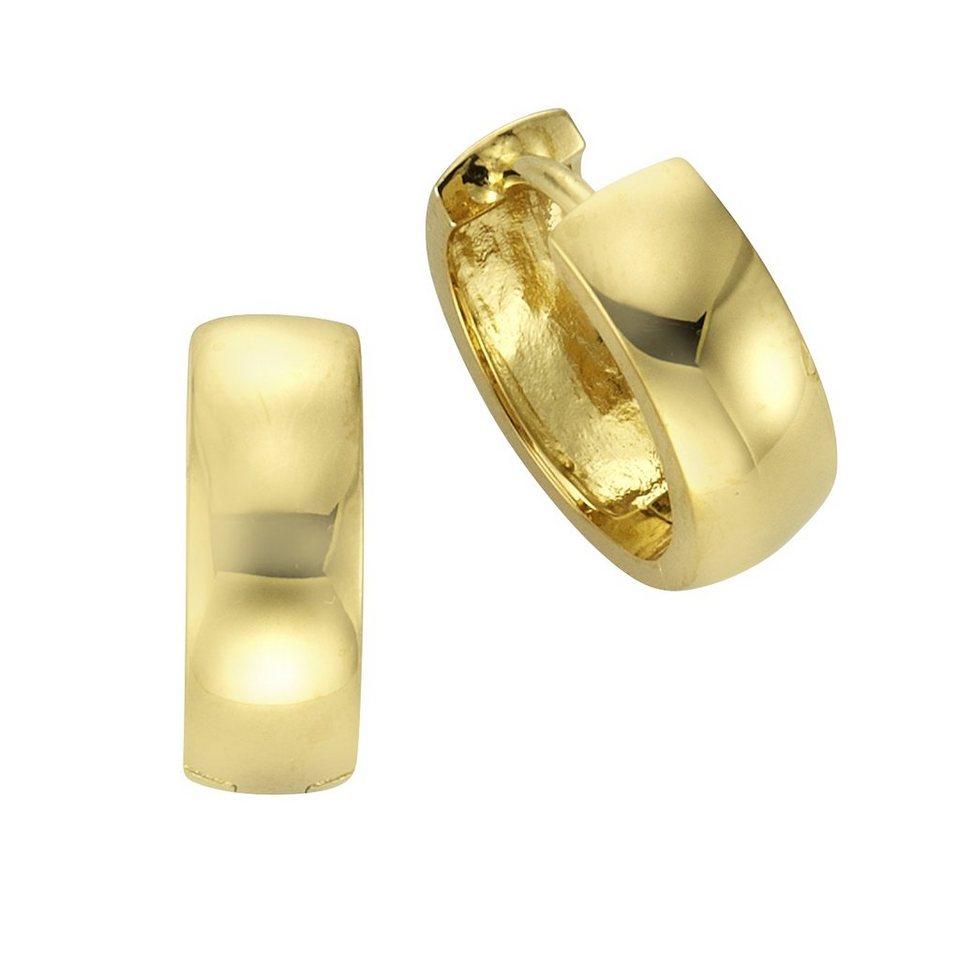 Zeeme Creolen »925/- Sterling Silber vergoldet« in gelb