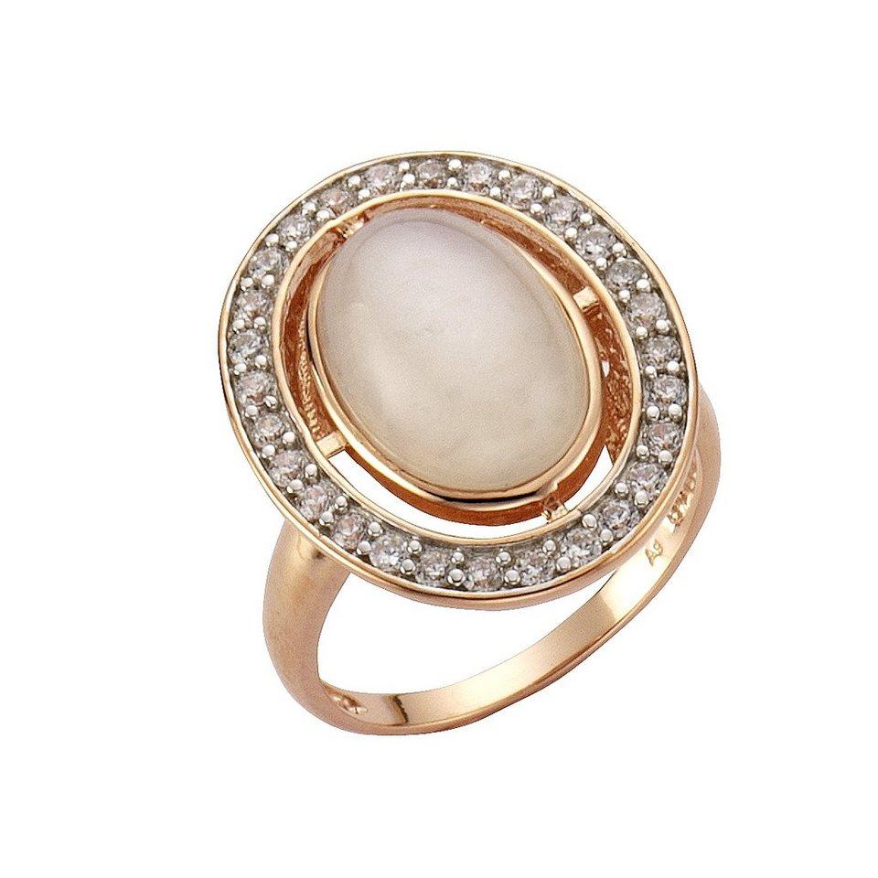 Zeeme Ring »925/- Sterling Silber rotvergoldet Mondstein« in Rot