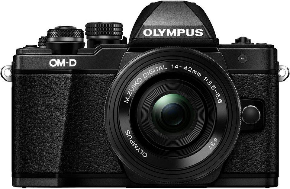Olympus OM-D E-M10 Mark II System Kamera, M.ZUIKO DIGITAL ED 14-42mm 1:3.5-5.6 EZ Pancake Pancake in schwarz
