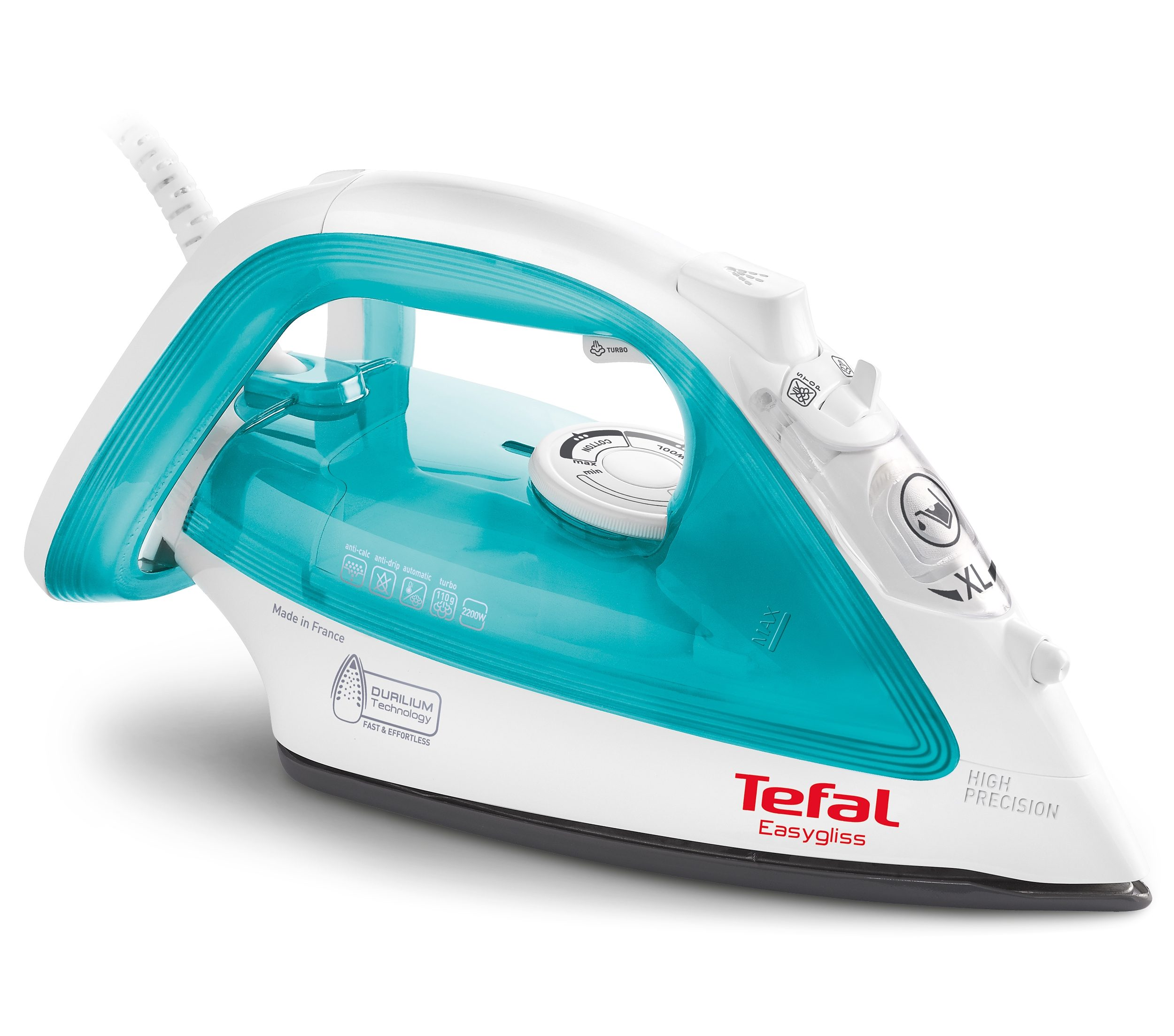 Tefal Bügeleisen EASYGLISS FV3910, mit Durilium Bügelsohle, 2200 Watt