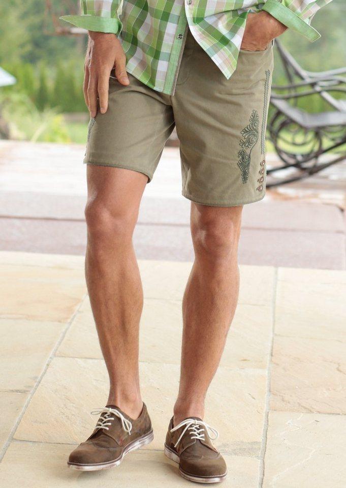 Hohenstaufen Trachtenhose Herren mit Stickerei in sand/grün