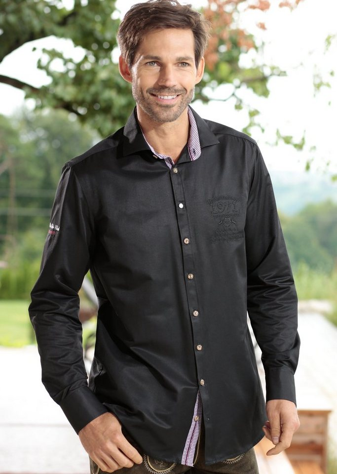 OS-Trachten Trachtenhemd mit Stickelementen in schwarz