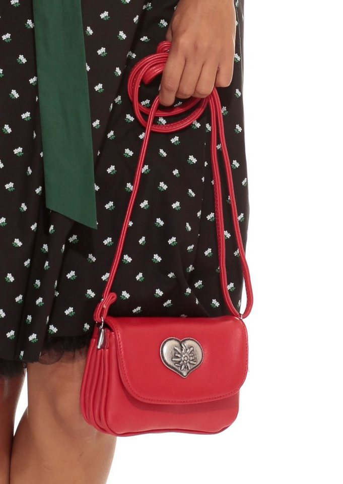 Lady Edelweiss Trachtentasche mit Herzmotiv in rot