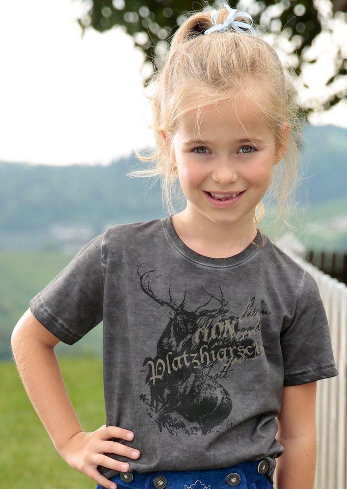 Marjo Trachtenshirt Kinder mit dekorativem Aufdruck in grau