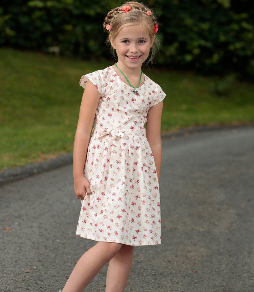 Berwin & Wolff Trachtenkleid Kinder mit Rosendruck in creme