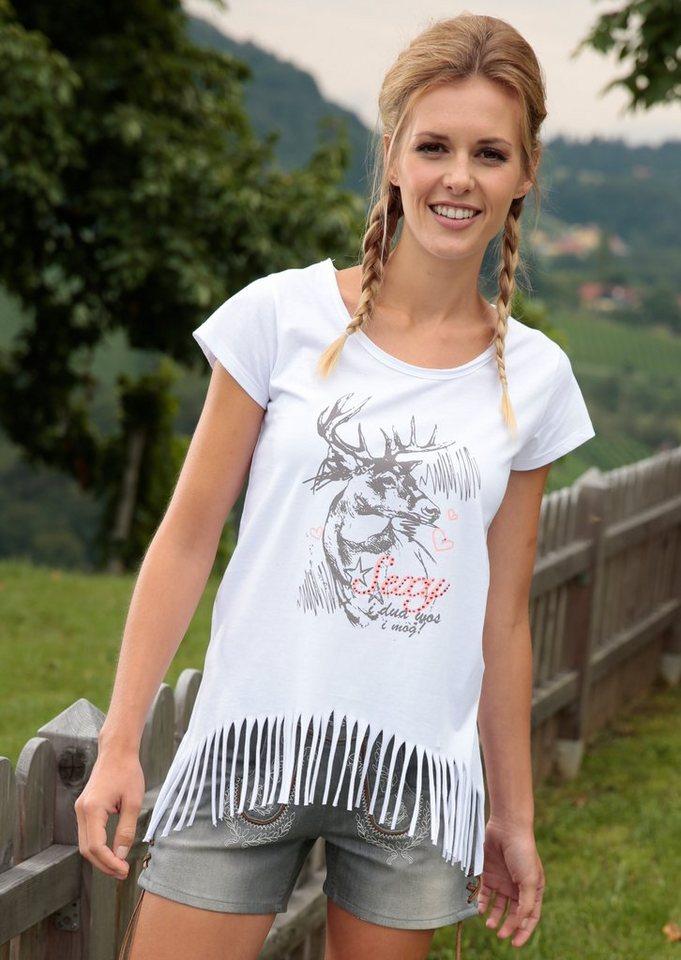 Marjo Trachtenshirt Damen mit Fransen in weiß