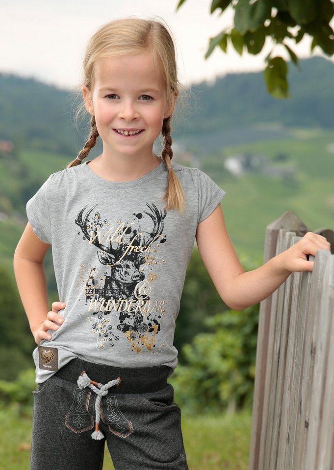 Marjo Trachtenshirt Kinder mit Hirschmotiv und Glitzerdruck in grau