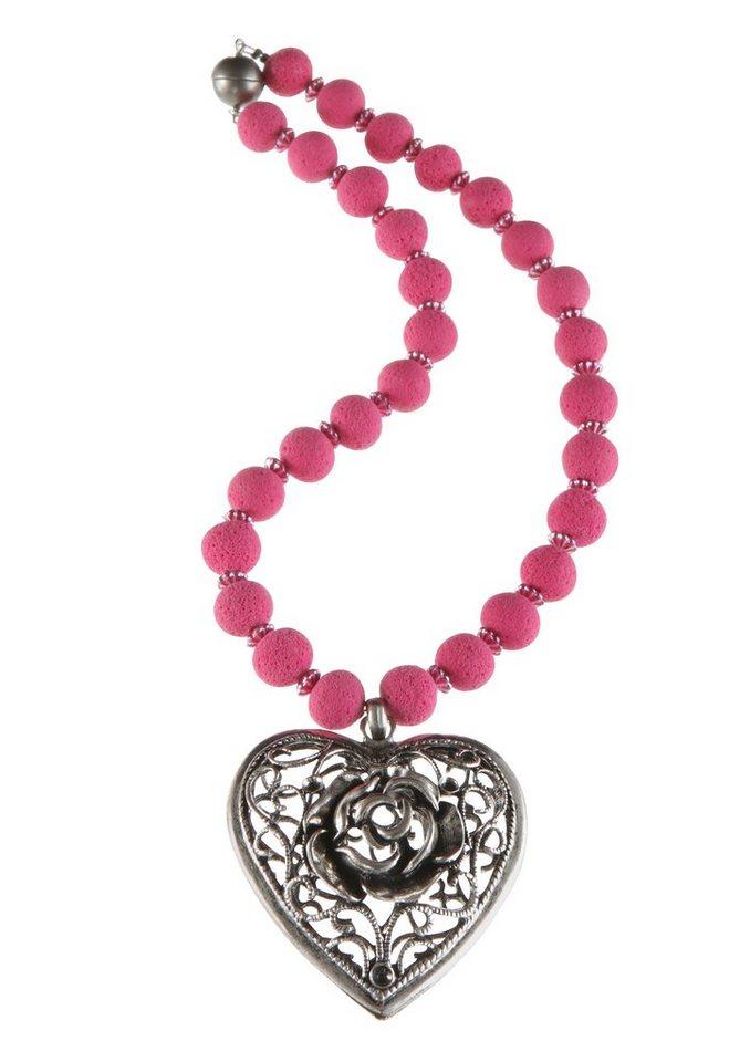 K&K Kunstduo Trachten-Halskette mit Metallherz-Anhänger in pink