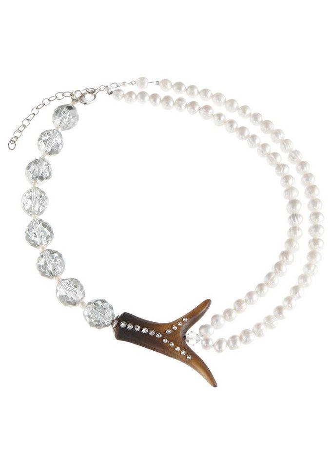 Trachten-Halskette mit Swarovski Steinchen in creme