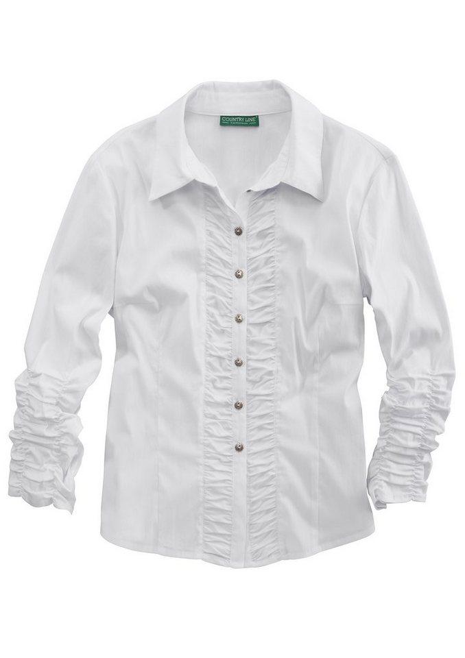 Country Line Trachtenbluse Damen mit Raffungen in weiß