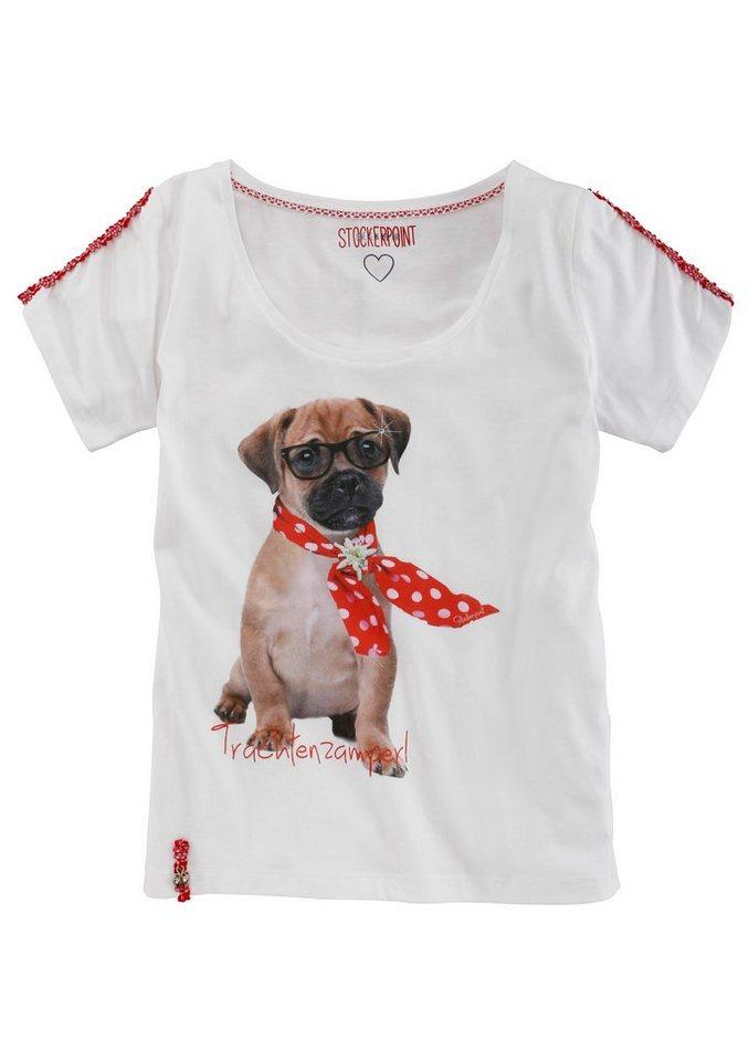 Stockerpoint Trachtenshirt Damen mit entzückendem Hundeprint in weiß