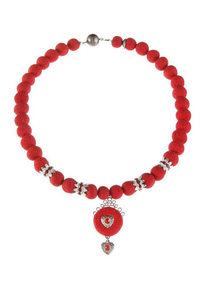 K&K Kunstduo Trachten-Halskette mit Magnetverschluss in rot