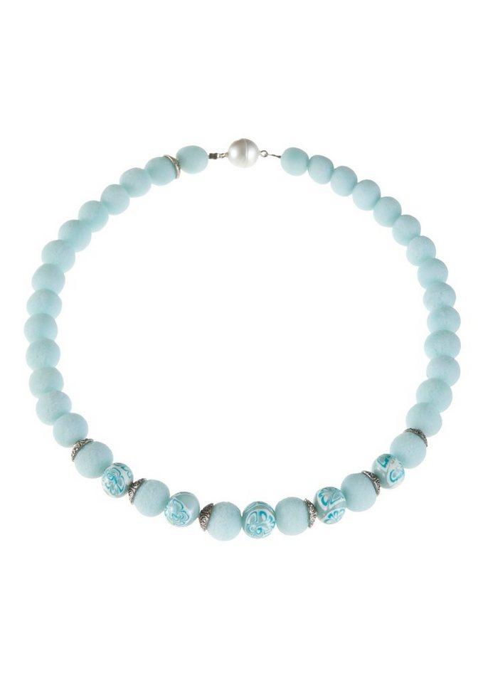 K&K Kunstduo Trachten-Halskette mit Magnetverschluss in hellblau