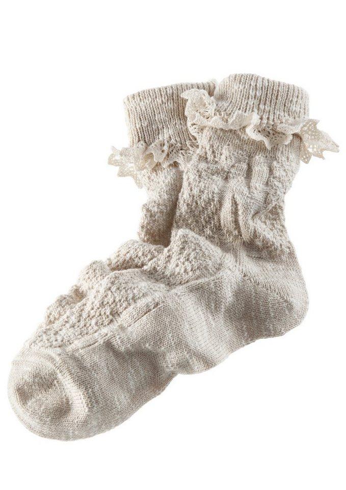 Trachten-Socken Damen mit zarter Spitze in natur