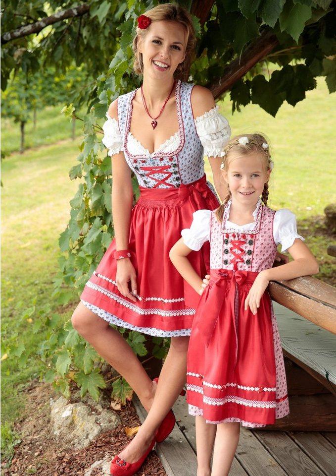Damen Krüger Madl Dirndl kurz mit Schnürung blau | 04055446085391