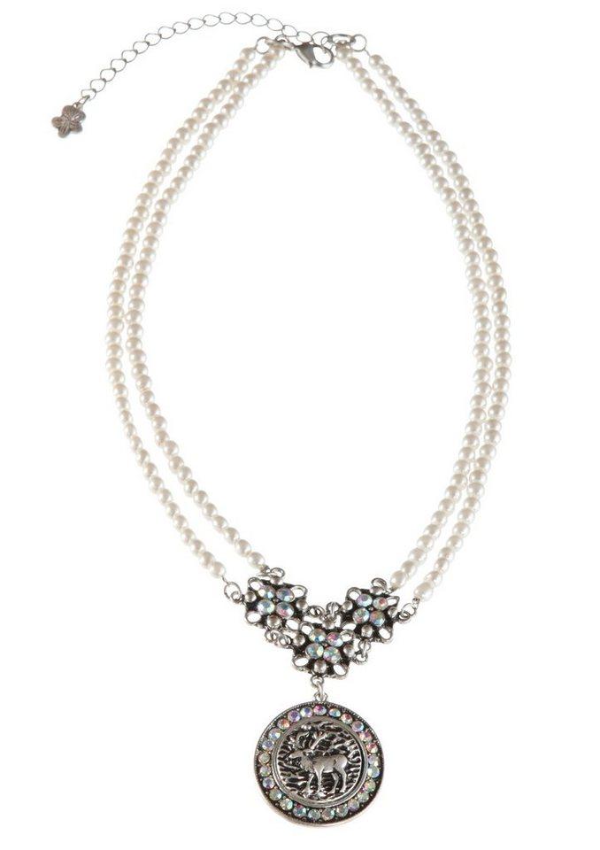 Trachten-Halskette aus Kunstperlen in natur