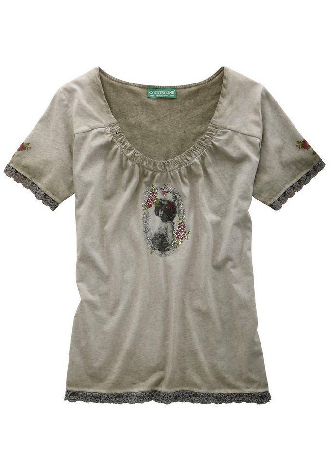 Country Line Trachtenshirt Damen mit Glitzersteinchen in oliv