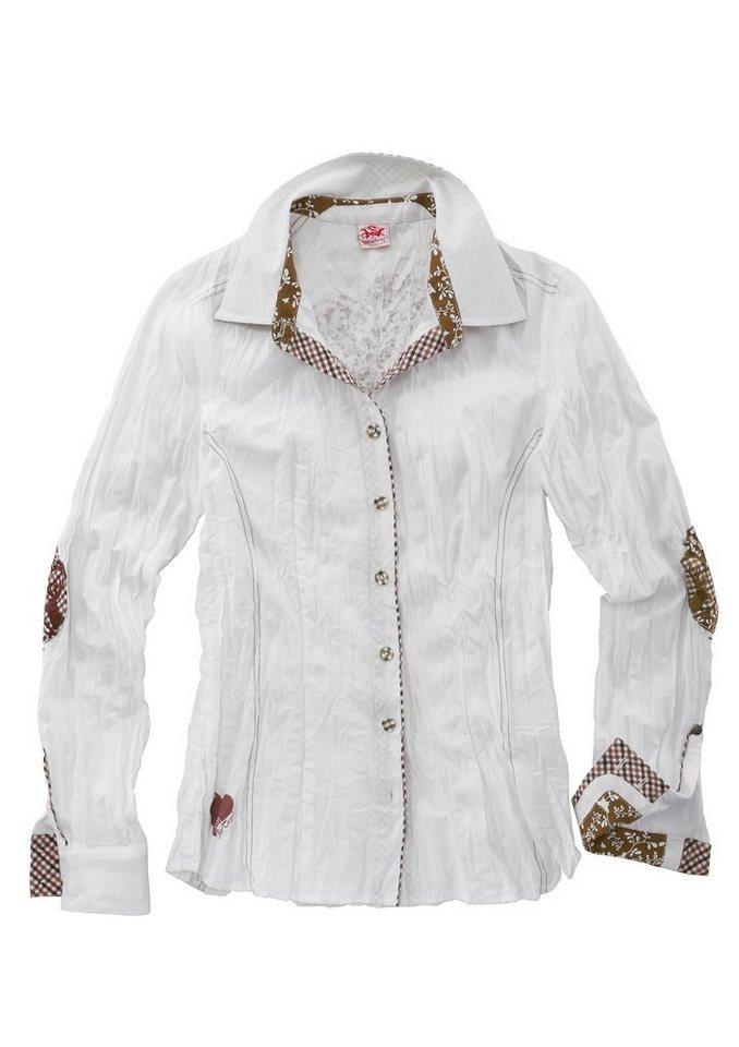 Spieth & Wensky Trachtenbluse Damen in Crashoptik in weiß/braun