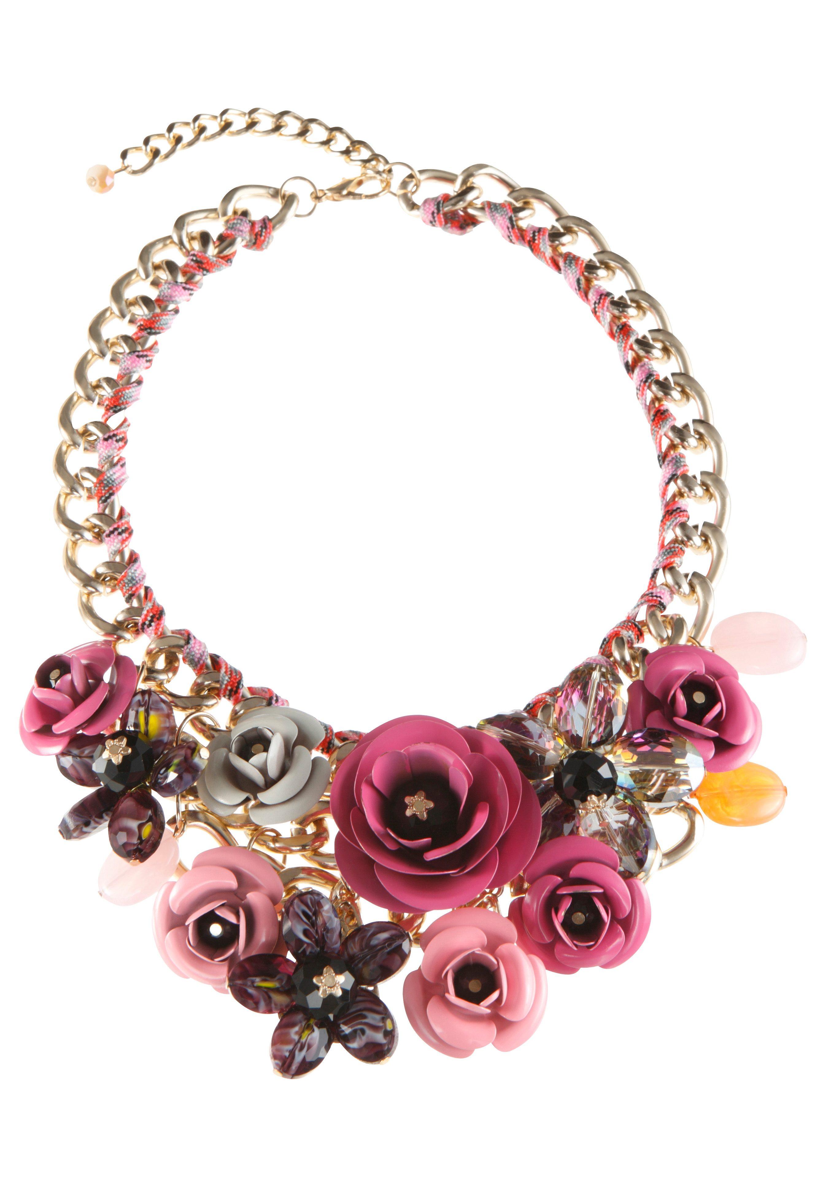 Klimm Trachten-Halskette mit farbigen Textilbändchen