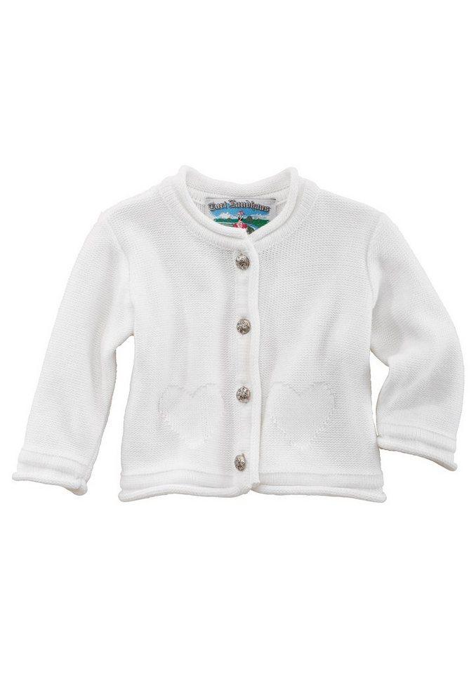 Turi Landhaus Trachten-Strickjacke Baby mit Herzmotiv in weiß