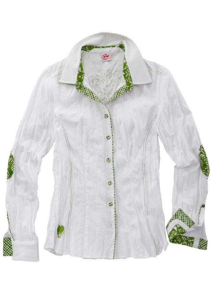 Spieth & Wensky Trachtenbluse Damen in Crashoptik in weiß/gruen