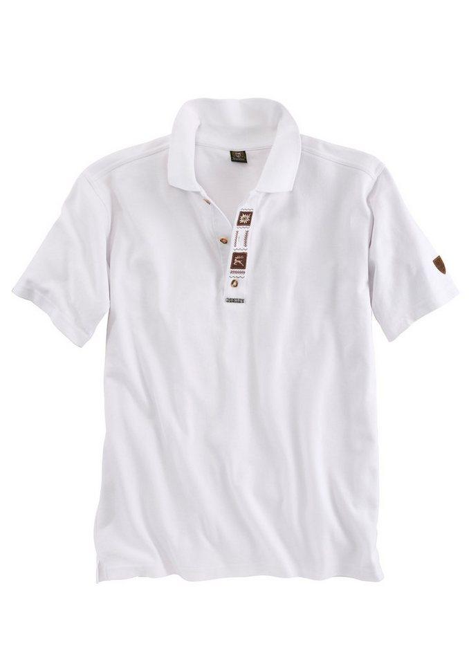 OS-Trachten Trachten-Poloshirt Herren mit Stickelementen in weiß