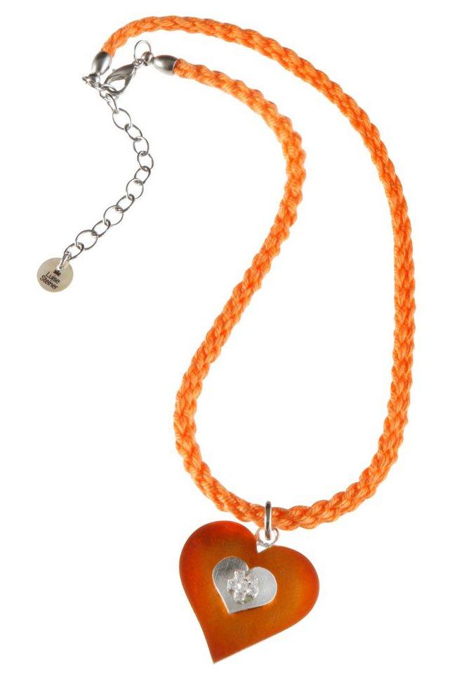 Trachten-Halskette mit Strass-Blümchen in orange