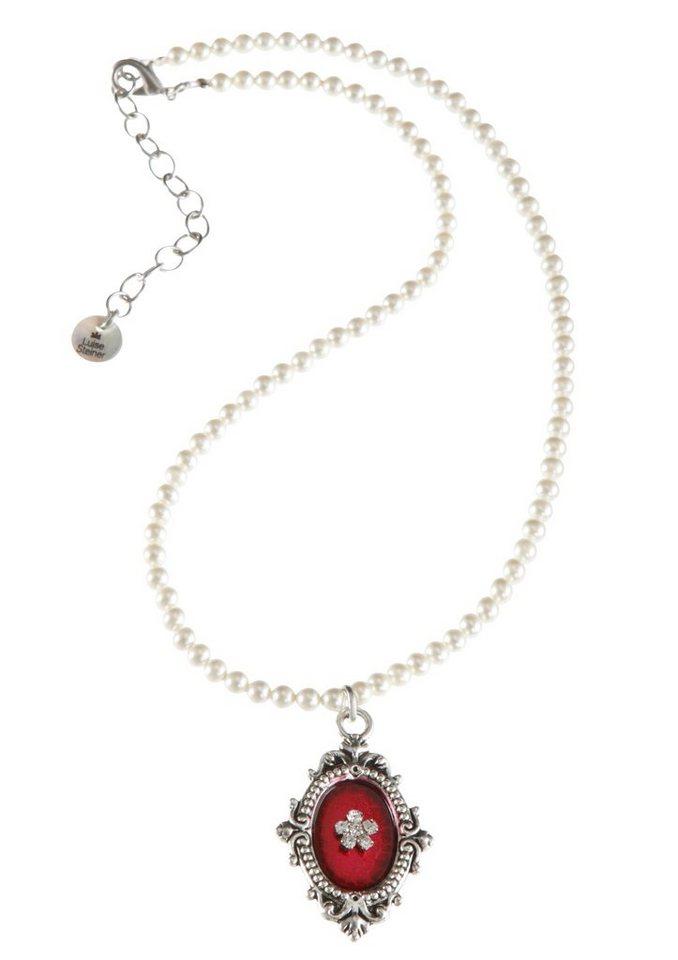 Trachten-Halskette mit Medaillonanhänger in pink