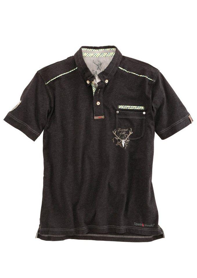 Spieth & Wensky Trachten-Poloshirt Herren in schwarz