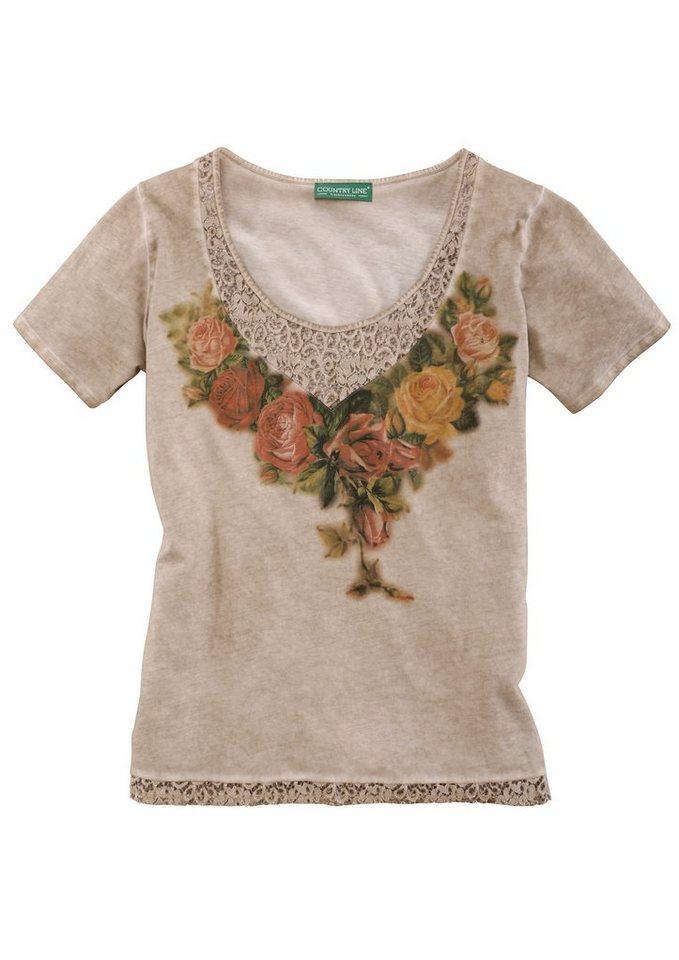 Country Line Trachtenshirt Damen mit Spitzeneinsatz in natur
