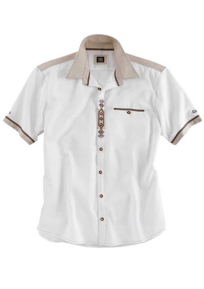 OS-Trachten Trachtenhemd in Leinenoptik in weiß/natur