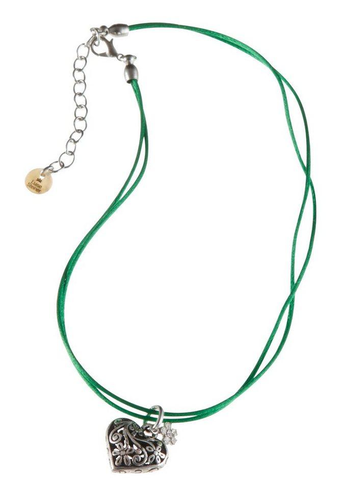 Trachten-Halskette Kinder mit Herz-Anhänger in grün